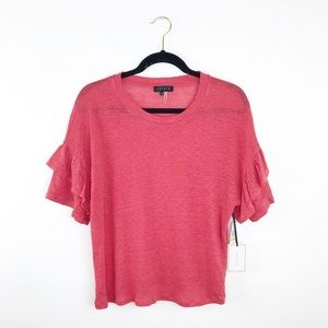NWT 1. State linen ruffle blouse
